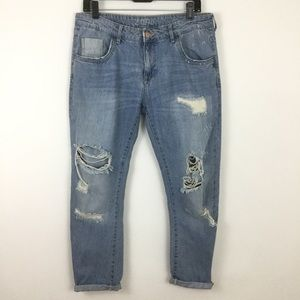 Zara Boyfriend Distressed Destroyed Blue Jeans